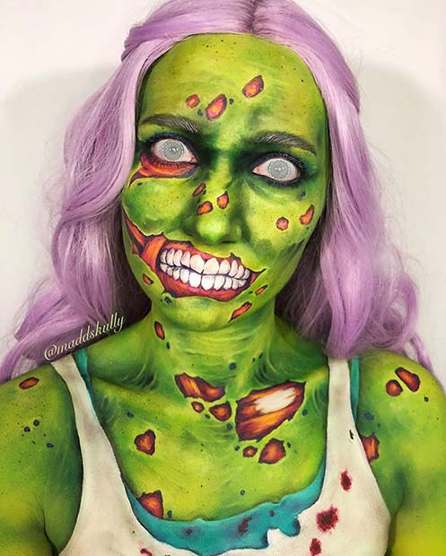Vibrant Green Zombie Makeup