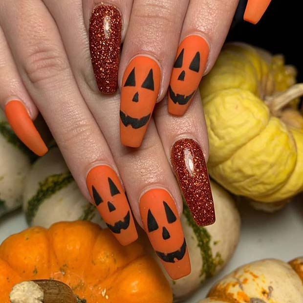 Pumpkin Halloween Acrylic Nails
