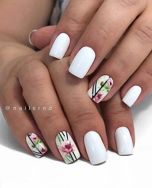 Short White Nails with Floral Art