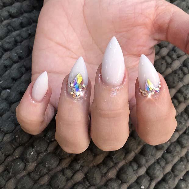 Short White Nails with Rhinestones