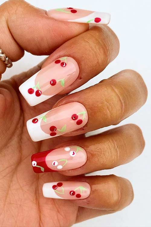 White Tip Cherry Nails