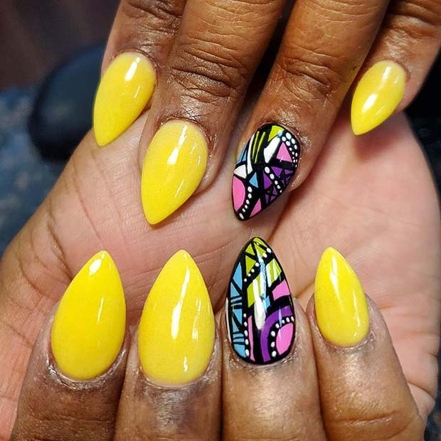 Yellow Nails with a Vibrant Accent Nail