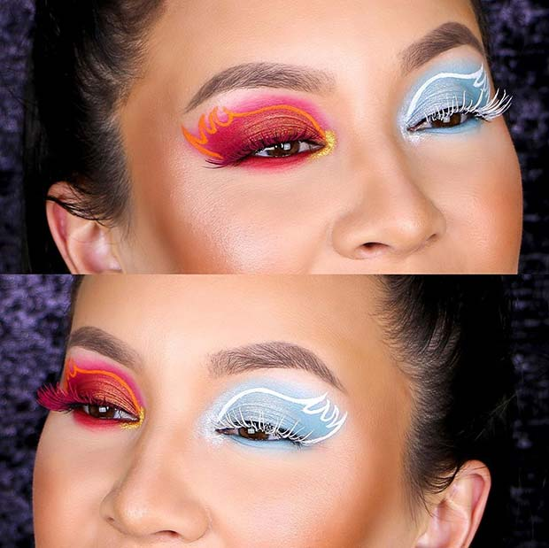Angel and Devil Eye Makeup