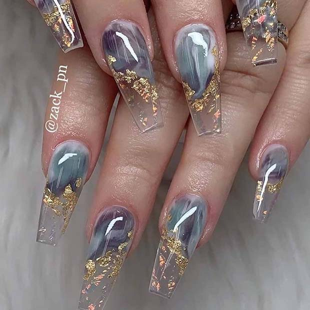 Clear Nails with Grey Marble and Gold Foil