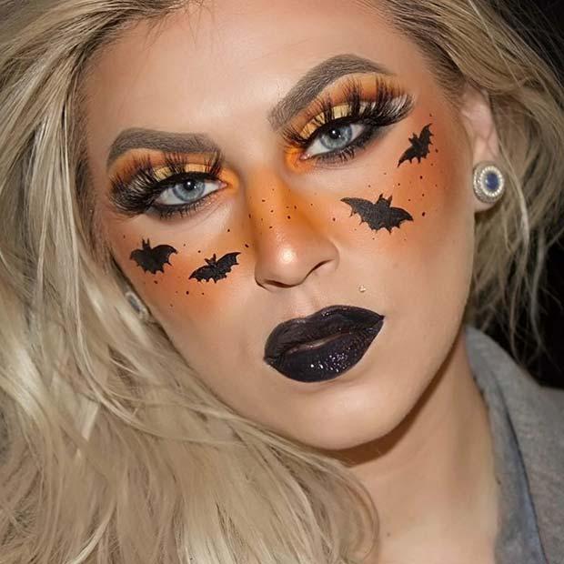 Cute Black and Orange Halloween Makeup Idea