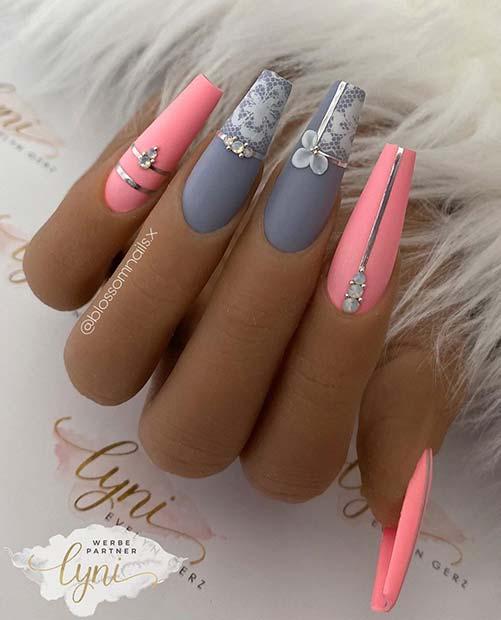 Dark Grey and Neon Pink Mani