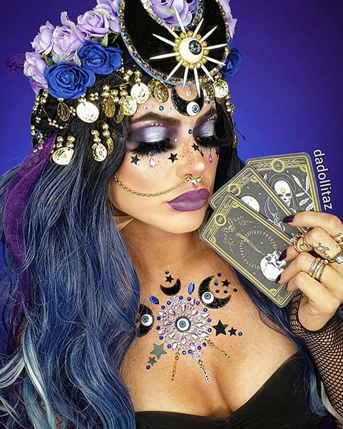 Fortune Teller Makeup with Rhinestones
