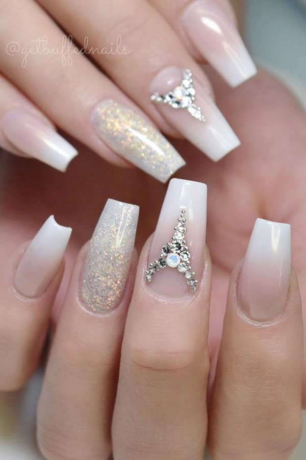 French Ombre Wedding Nail Design