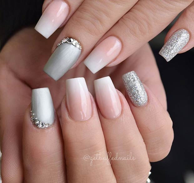French Ombre and Silver Bridal Nails