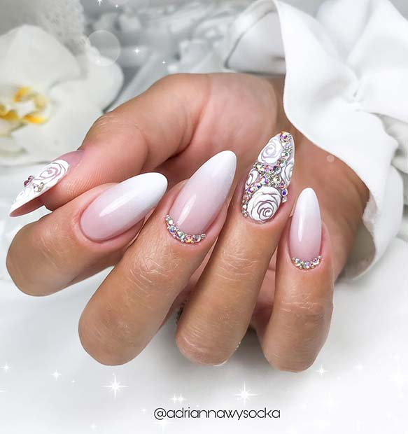 French Ombre with Glitter and Floral Art
