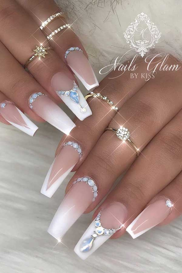 French Tip Coffin Wedding Nails