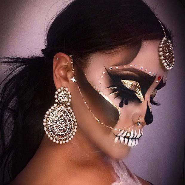 Glittery Skull Halloween Makeup