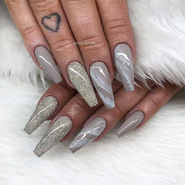 Glittery and Grey Nails with Marble Art
