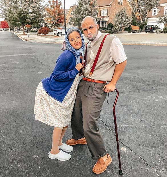 Grandma and Grandpa Couple's Halloween Costumes