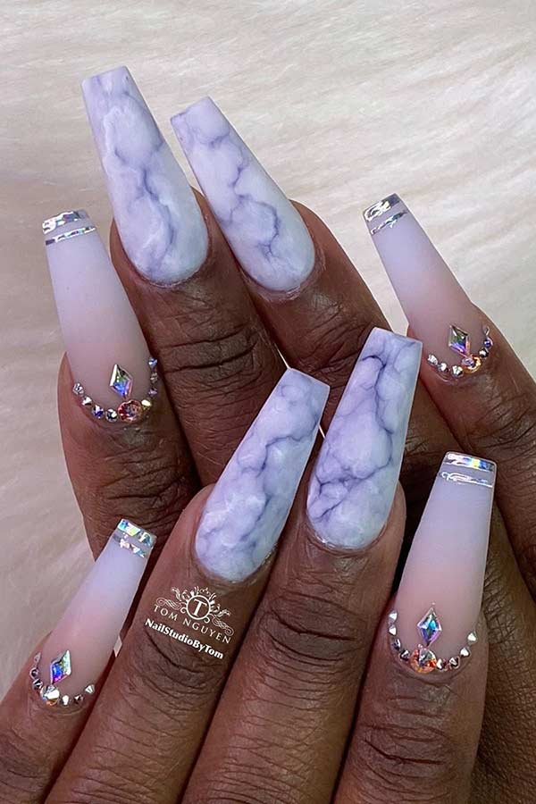 Grey Marble Coffin Nails
