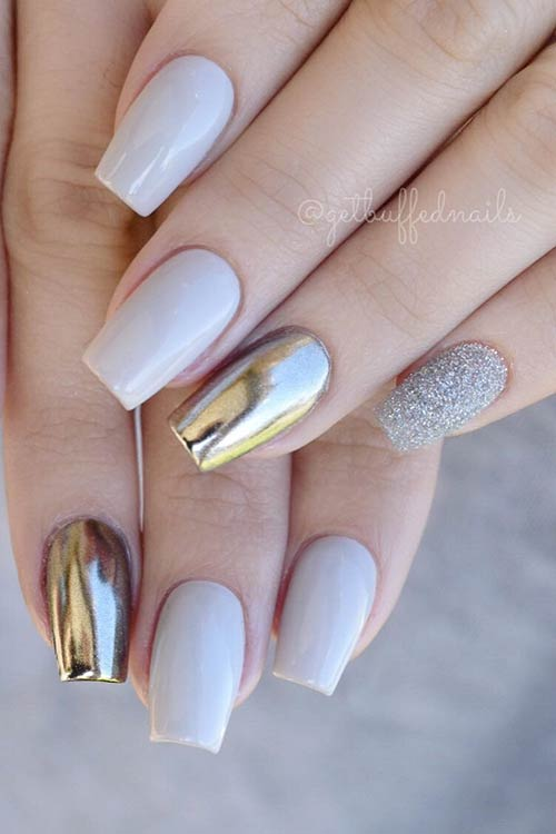 Grey Nails with Chrome