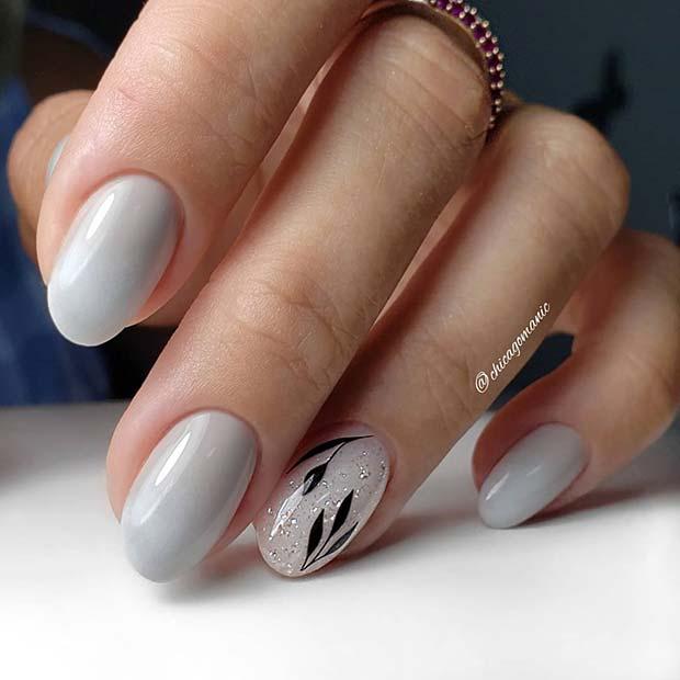 Short Nails with Botanical Art
