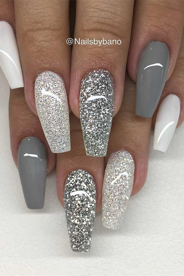 Grey White and Glitter Nails