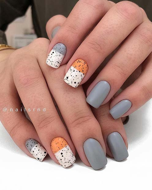 Short Grey and Orange Nails