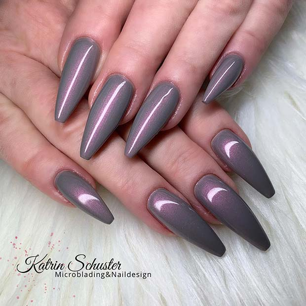 Grey Nail Design with Purple Tones