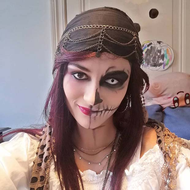 Half Skull Makeup Design
