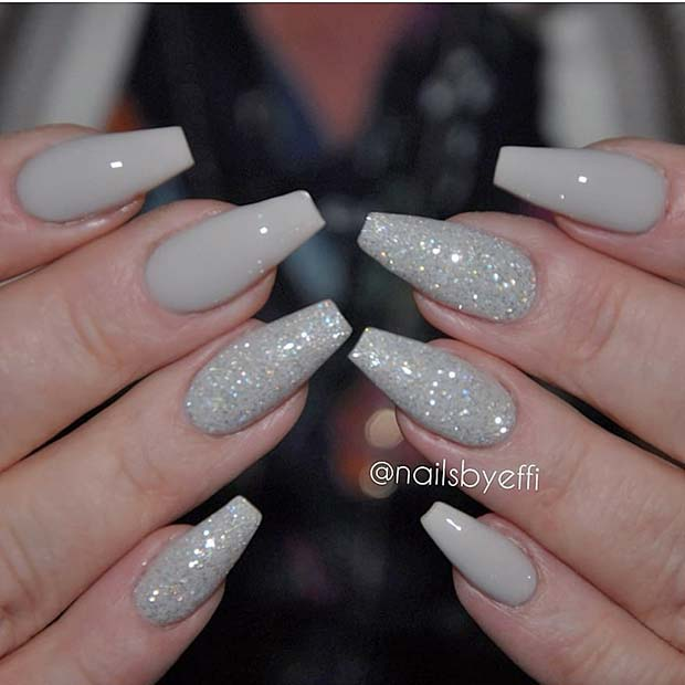 Light Grey Nails with Glitter