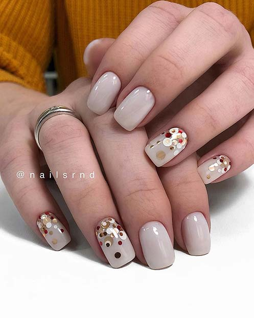 Light Grey Nails with Sequins