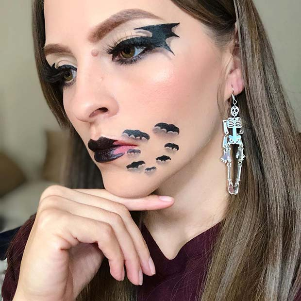 Lip Bat Illusion for Halloween