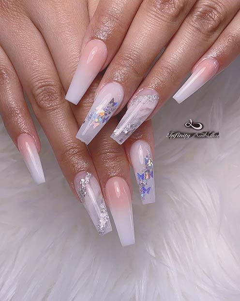 Long Nails with Butterfly Sequins