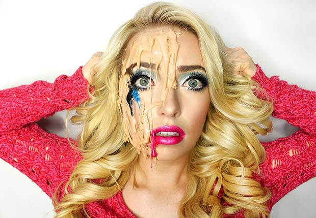 Melted Barbie Makeup for Halloween