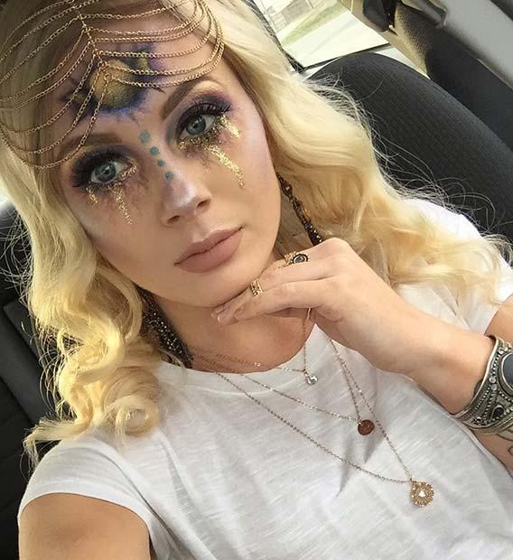 Mystical Gold Halloween Makeup