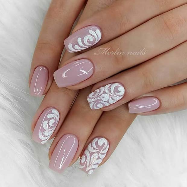 Nude Nails with Elegant Art