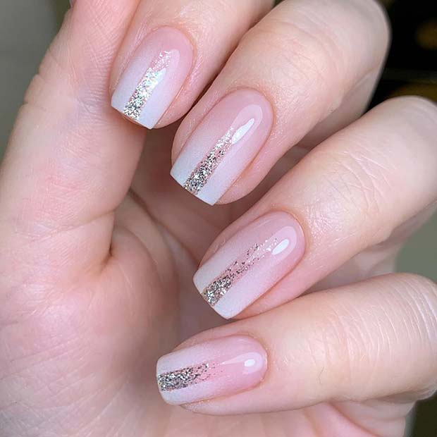 Short Ombre Nails with Glitter Stripes