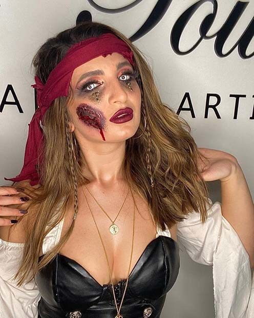 Pirate Makeup with a Wound