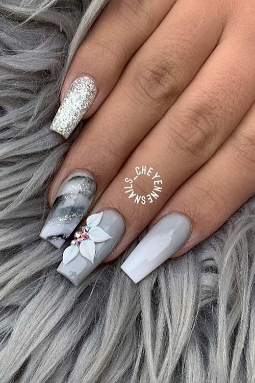 Pretty Grey Nails with Glitter