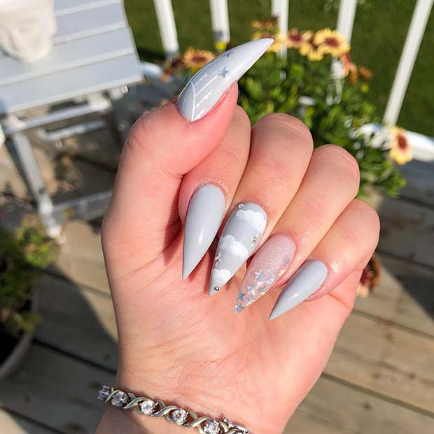 Pretty Grey Stiletto Nails with Clouds