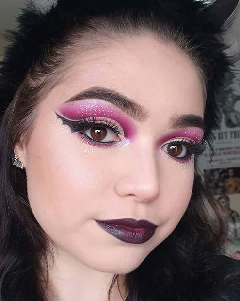Purple Makeup with Bat Wings