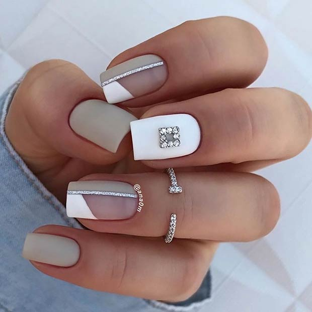 Short Grey Nails with White