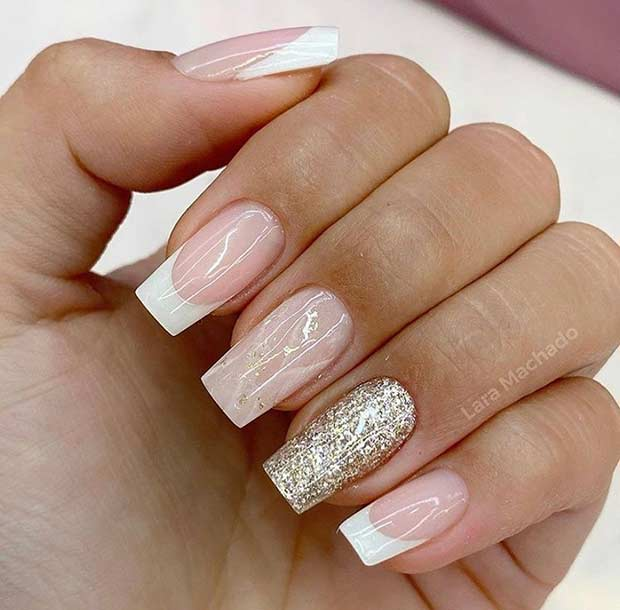 Short and Elegant White Tip Nails