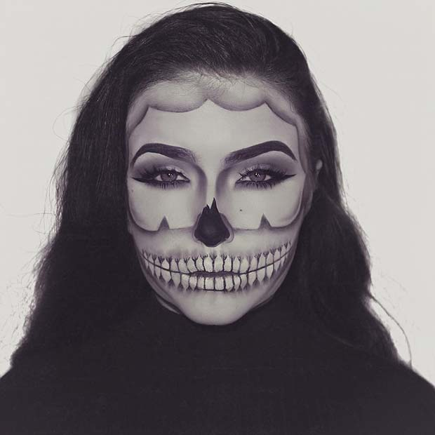 Grey Skeleton Illusion Halloween Makeup
