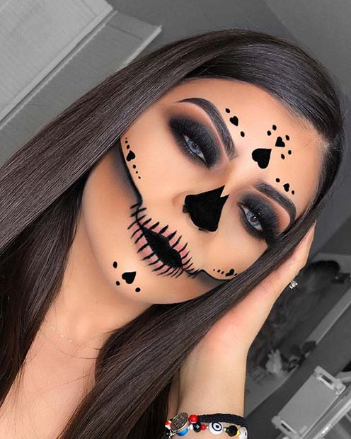Skull Makeup with Hearts