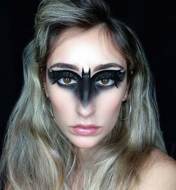 Spooky Bat Makeup Mask for Halloween