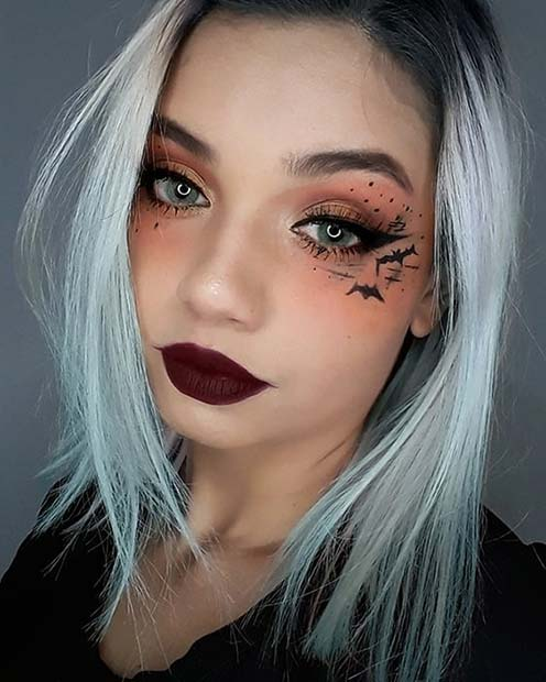 Stylish Eye Makeup with Bats