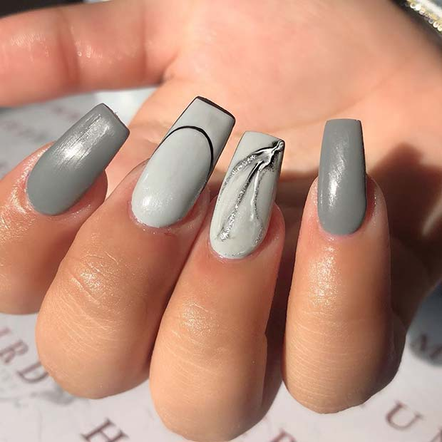Trendy Grey Nail Design