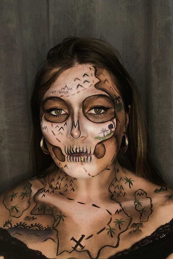 Unique Skeletal Treasure Map Makeup Idea