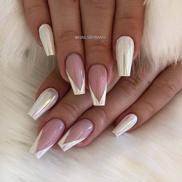 White Chrome Nails with V Tips