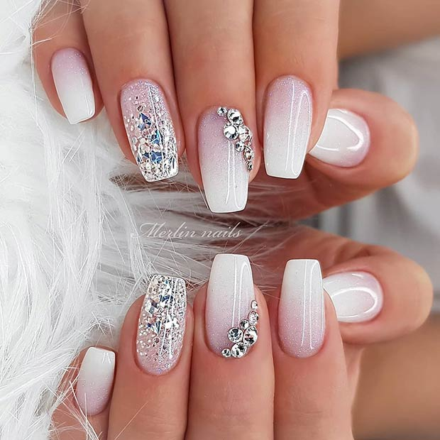 White Nails with Glitter and Rhinestones