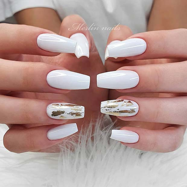 White Nails with Gold Foil
