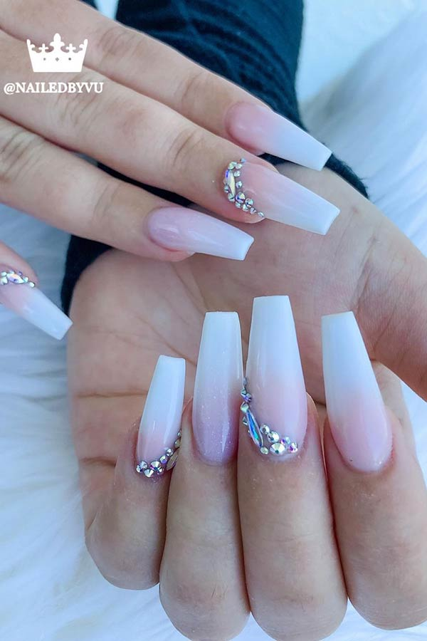 White Ombre Coffin Nails with Rhinestones