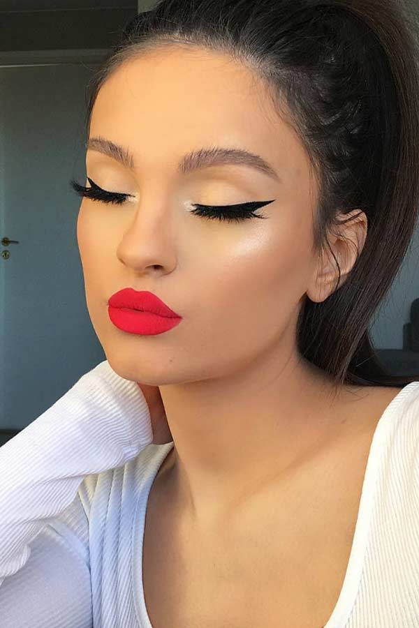 Black Eyeliner with Red Lips